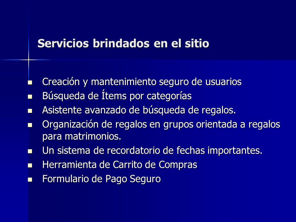 Servicios brindados en el sitio