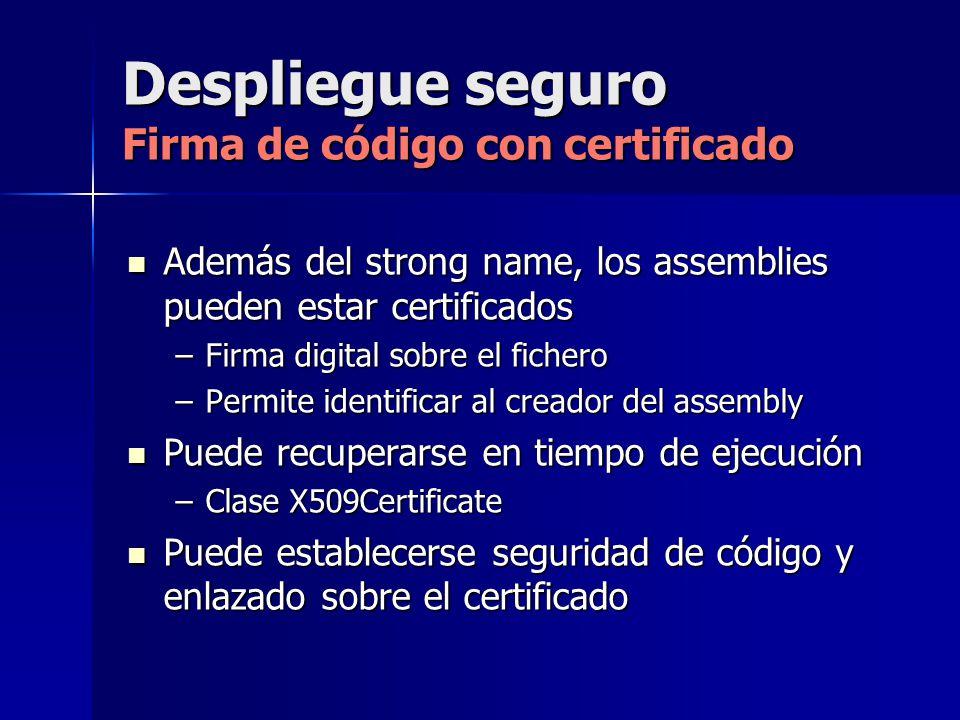 Despliegue seguro Firma de código con certificado