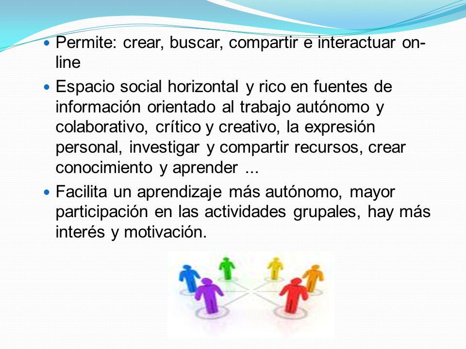 Permite: crear, buscar, compartir e interactuar on-line