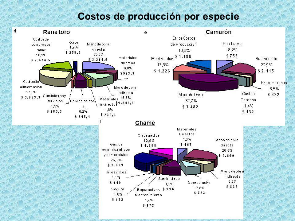 Costos de producción por especie
