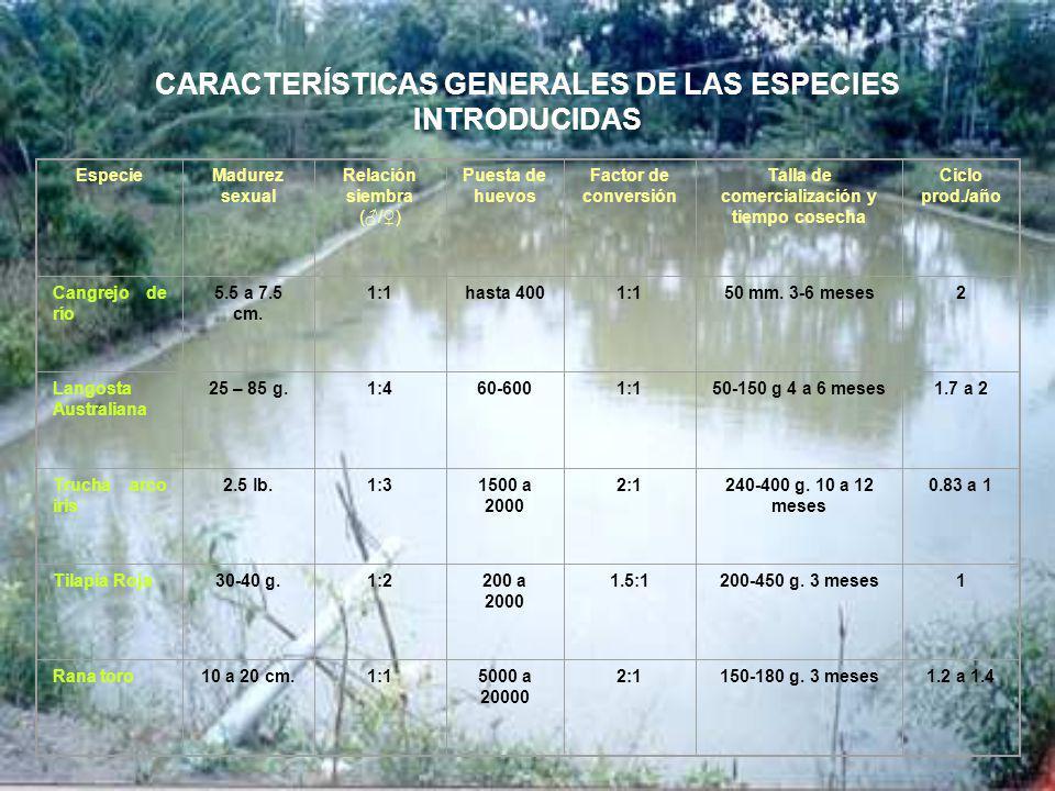 CARACTERÍSTICAS GENERALES DE LAS ESPECIES INTRODUCIDAS