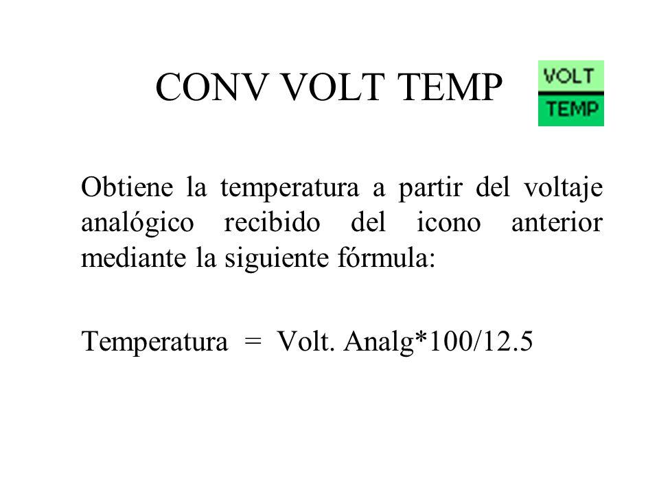 CONV VOLT TEMP Obtiene la temperatura a partir del voltaje analógico recibido del icono anterior mediante la siguiente fórmula: