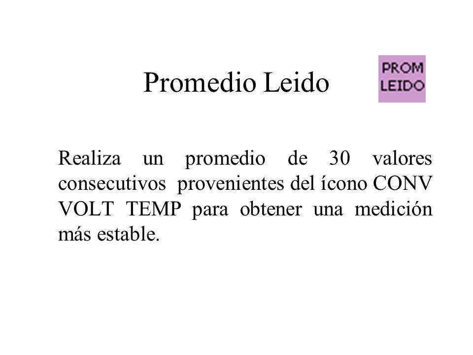 Promedio Leido Realiza un promedio de 30 valores consecutivos provenientes del ícono CONV VOLT TEMP para obtener una medición más estable.