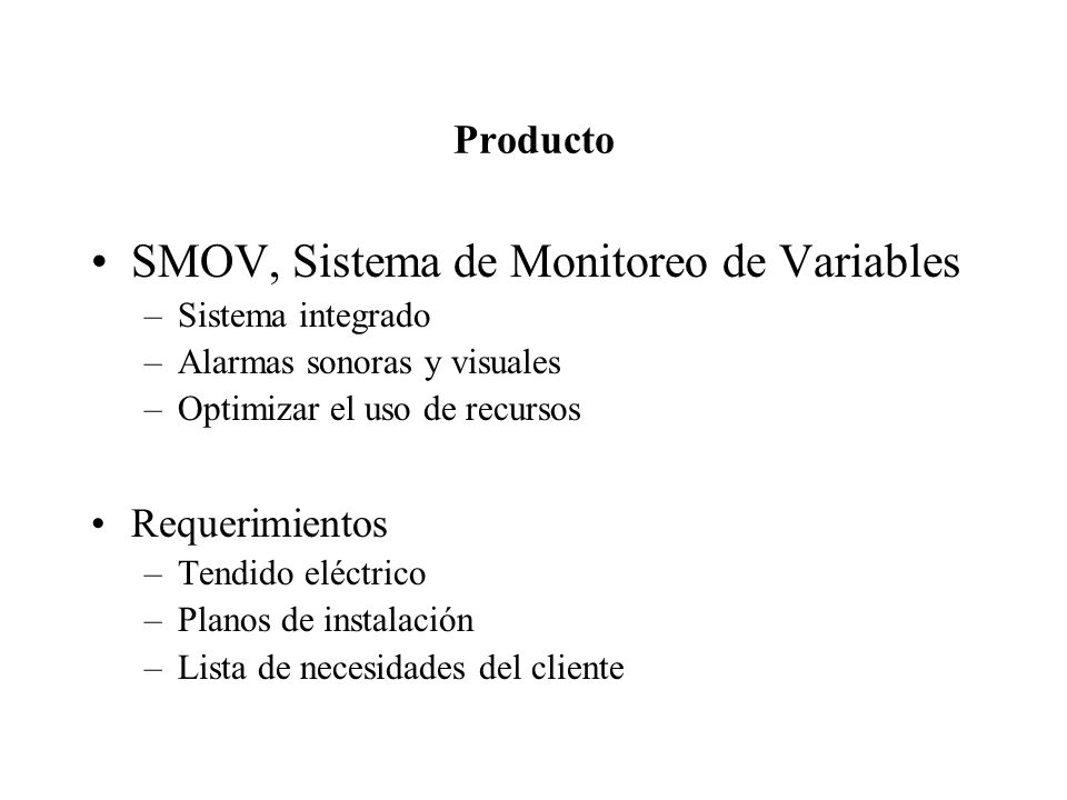 SMOV, Sistema de Monitoreo de Variables