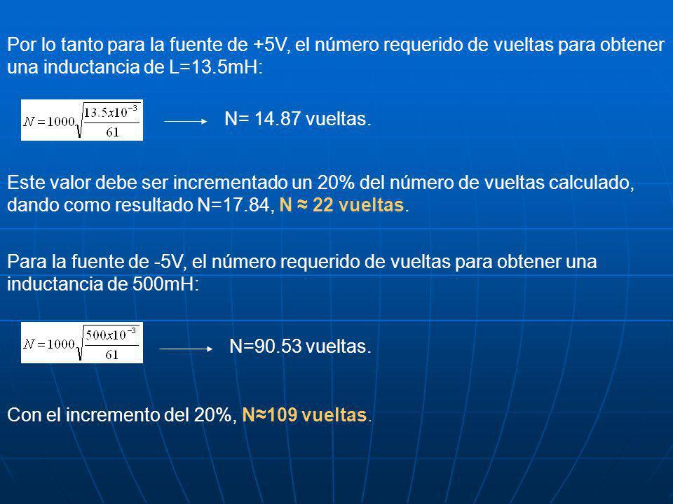 Por lo tanto para la fuente de +5V, el número requerido de vueltas para obtener una inductancia de L=13.5mH: