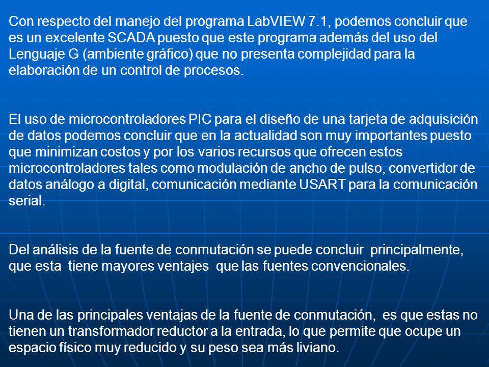 Con respecto del manejo del programa LabVIEW 7