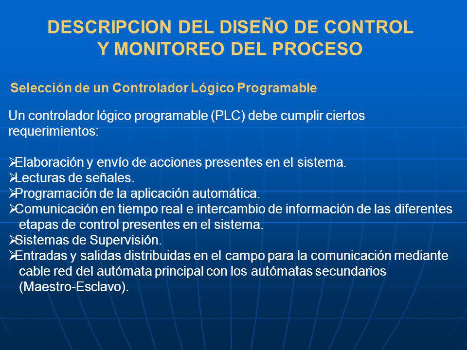 DESCRIPCION DEL DISEÑO DE CONTROL