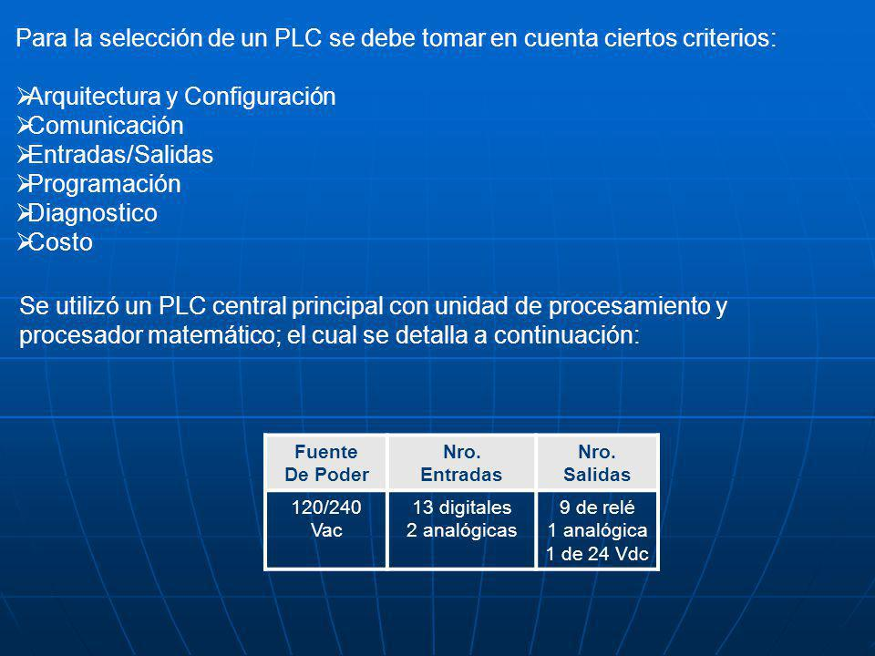 Para la selección de un PLC se debe tomar en cuenta ciertos criterios: