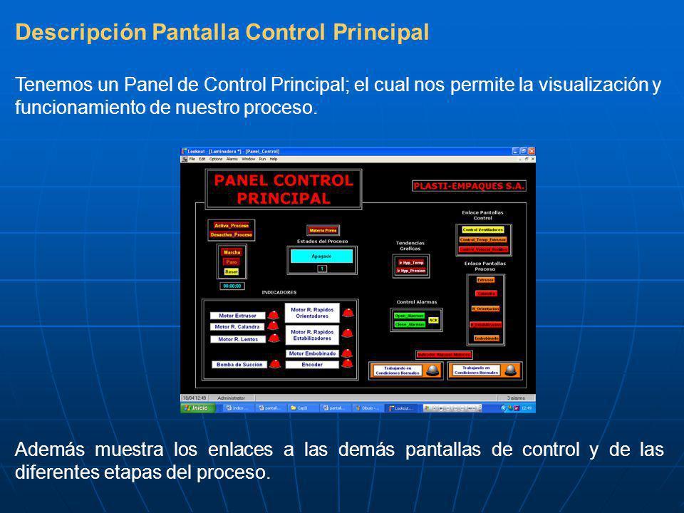 Descripción Pantalla Control Principal