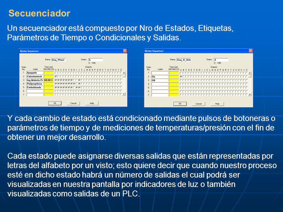 Secuenciador Un secuenciador está compuesto por Nro de Estados, Etiquetas, Parámetros de Tiempo o Condicionales y Salidas.