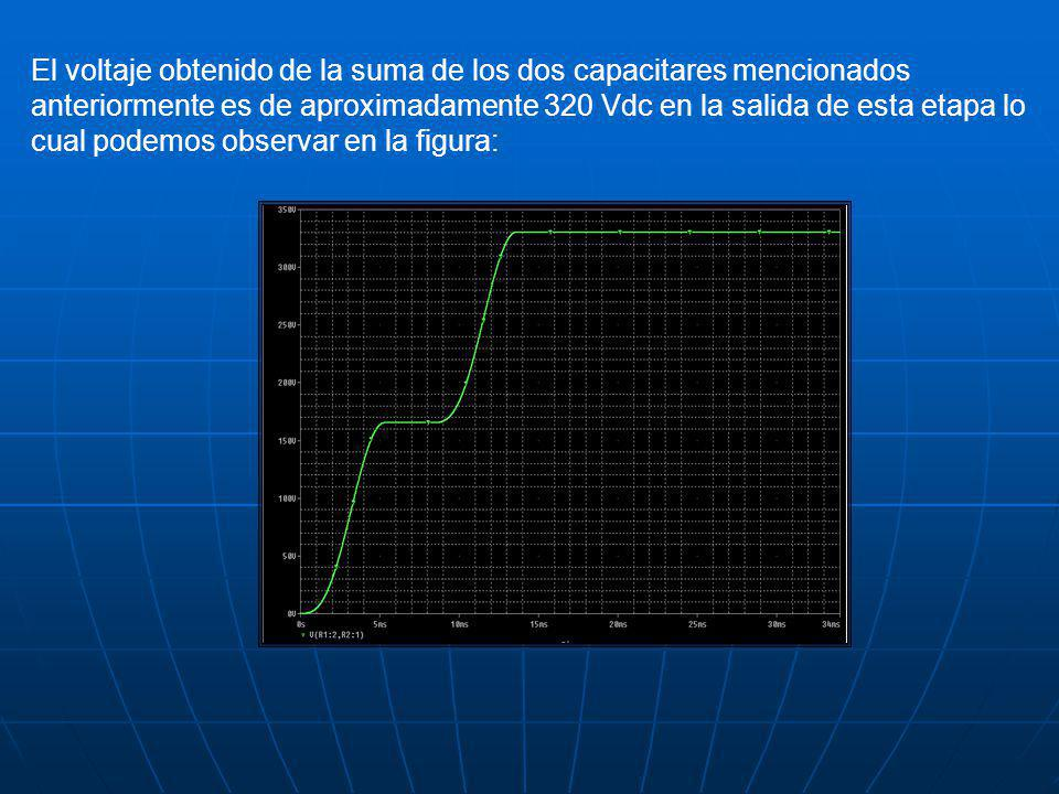 El voltaje obtenido de la suma de los dos capacitares mencionados anteriormente es de aproximadamente 320 Vdc en la salida de esta etapa lo cual podemos observar en la figura: