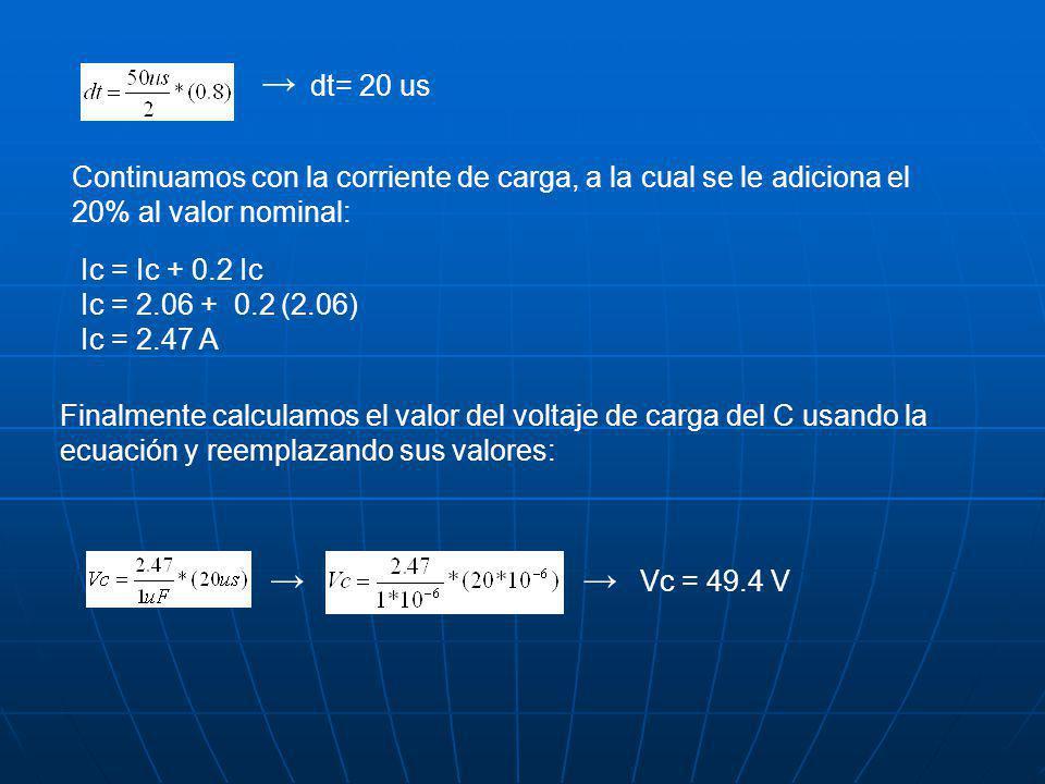 → dt= 20 us. Continuamos con la corriente de carga, a la cual se le adiciona el 20% al valor nominal: