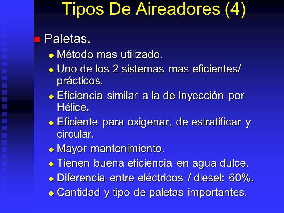 Tipos De Aireadores (4) Paletas. Método mas utilizado.