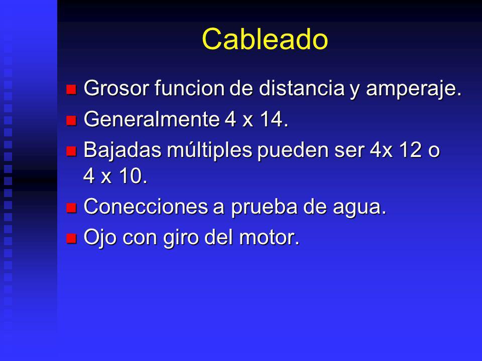 Cableado Grosor funcion de distancia y amperaje. Generalmente 4 x 14.