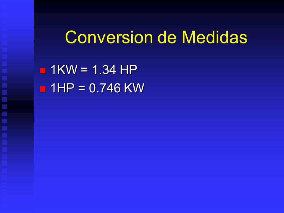 Conversion de Medidas 1KW = 1.34 HP 1HP = 0.746 KW