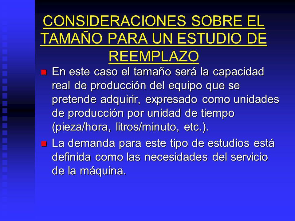 CONSIDERACIONES SOBRE EL TAMAÑO PARA UN ESTUDIO DE REEMPLAZO
