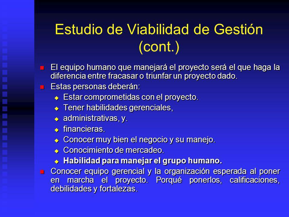 Estudio de Viabilidad de Gestión (cont.)