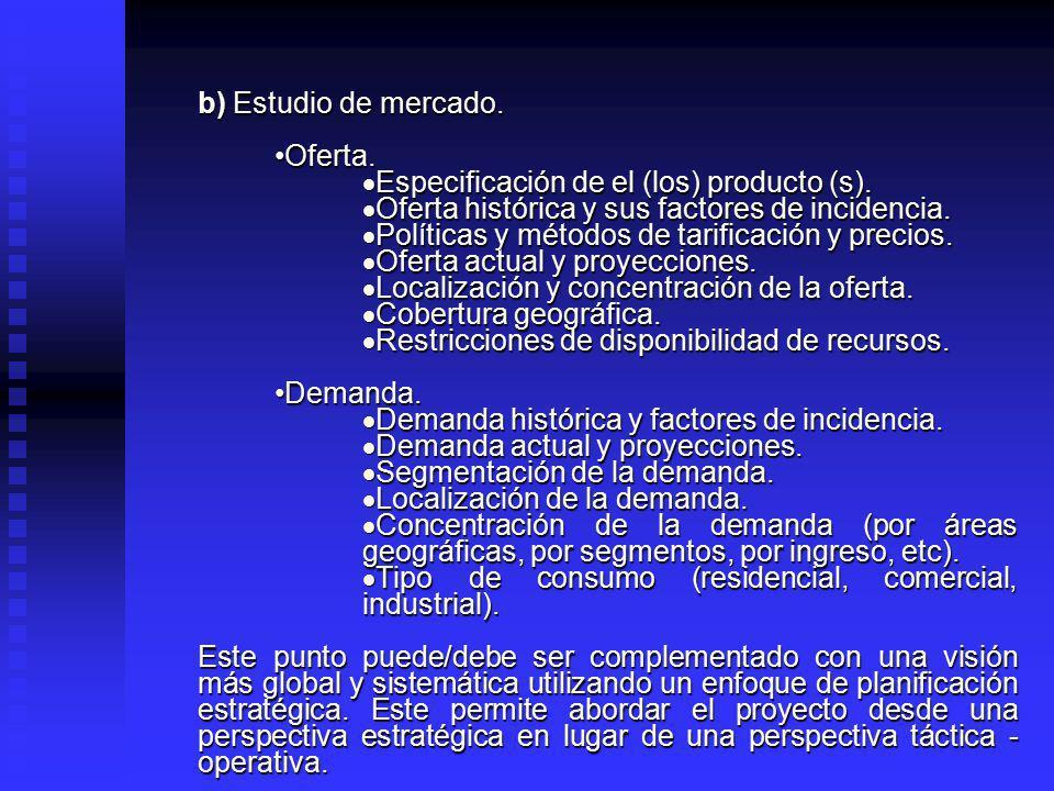 b) Estudio de mercado. Oferta. Especificación de el (los) producto (s). Oferta histórica y sus factores de incidencia.