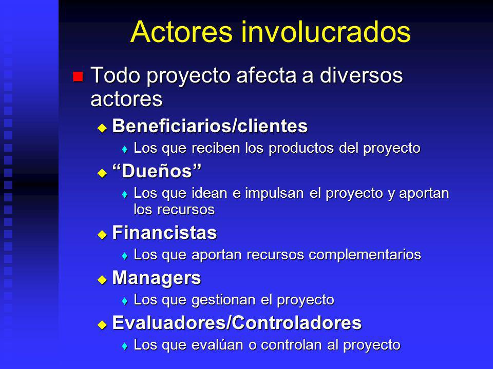 Actores involucrados Todo proyecto afecta a diversos actores