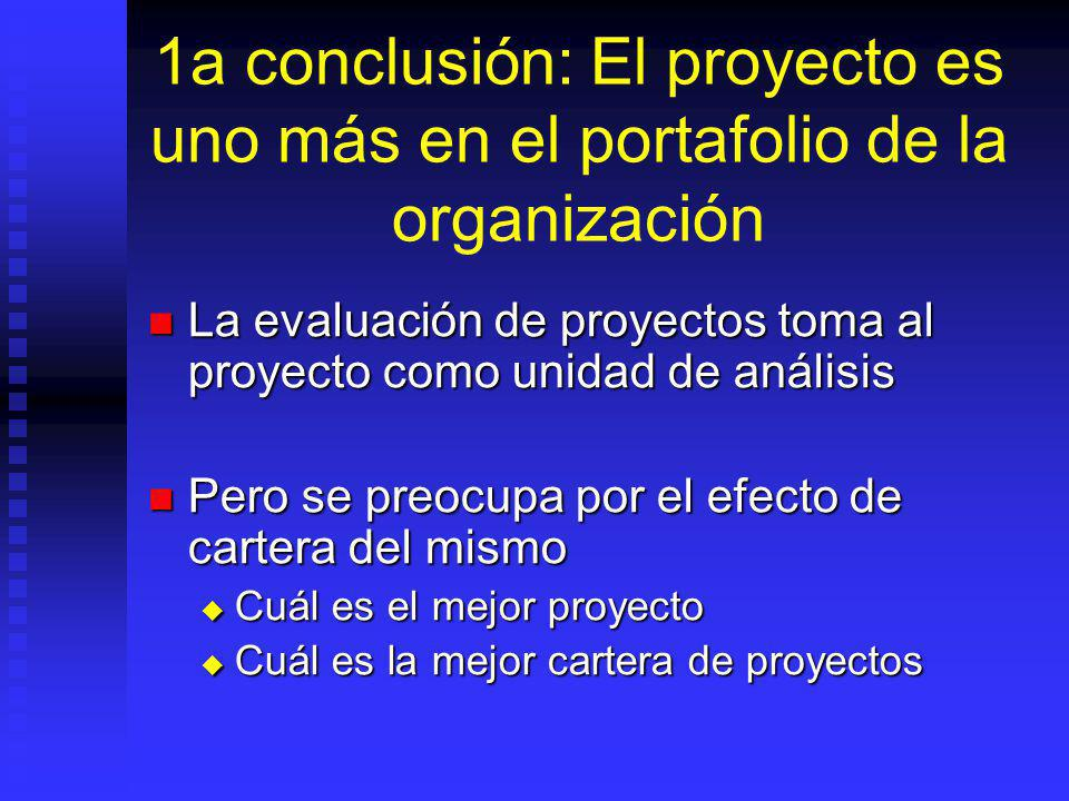 1a conclusión: El proyecto es uno más en el portafolio de la organización