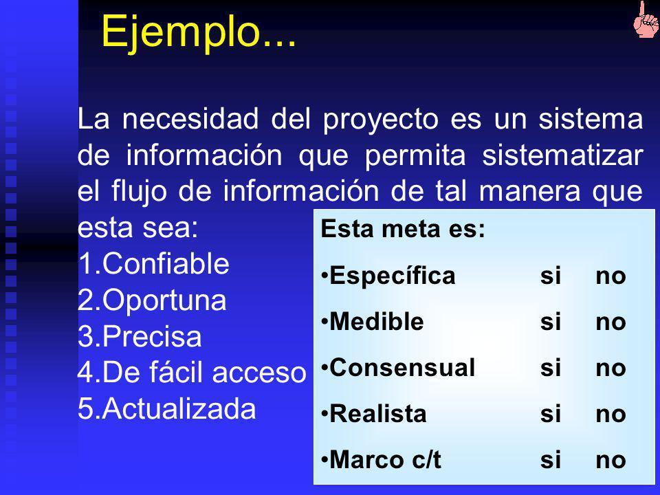 Ejemplo... La necesidad del proyecto es un sistema de información que permita sistematizar el flujo de información de tal manera que esta sea: