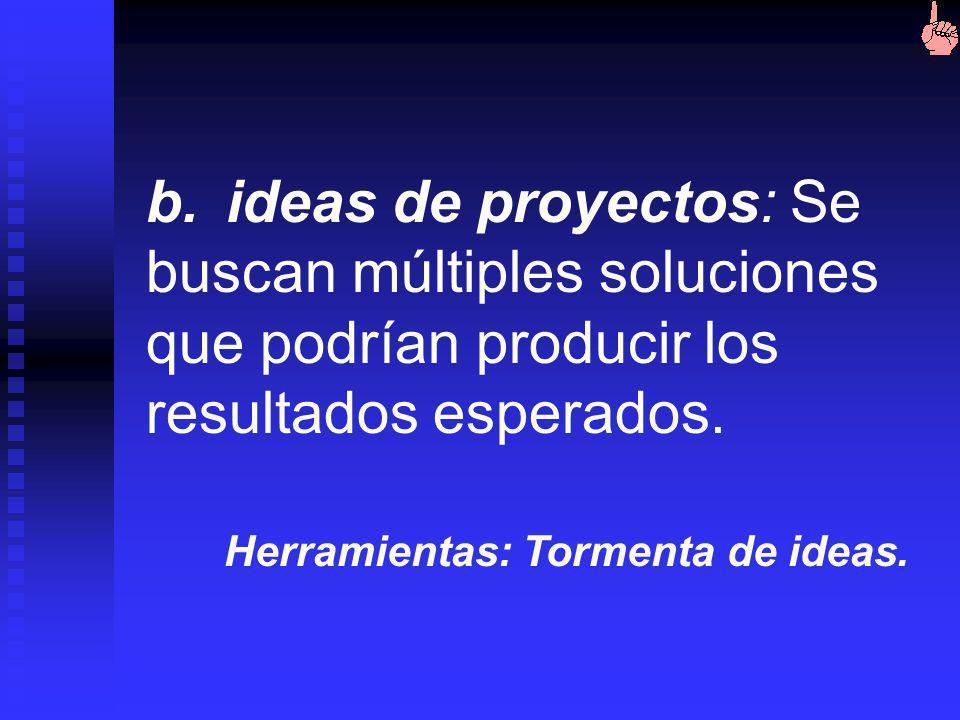 b. ideas de proyectos: Se buscan múltiples soluciones que podrían producir los resultados esperados.