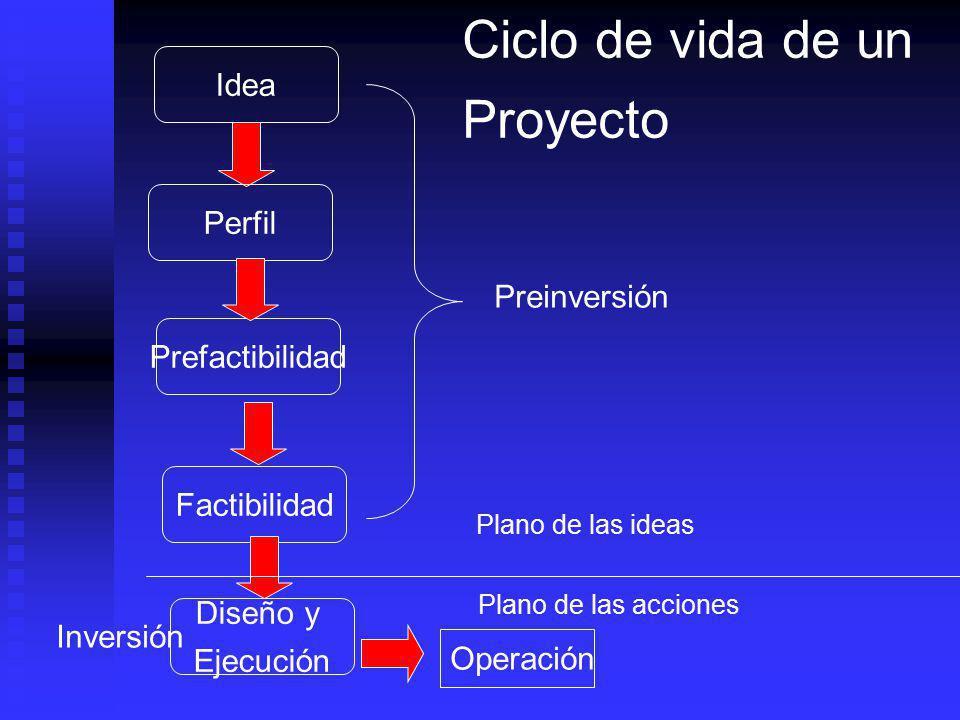 Ciclo de vida de un Proyecto Idea Perfil Preinversión Prefactibilidad