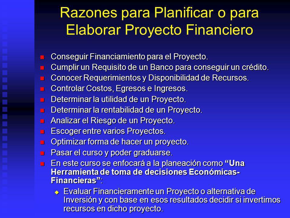 Razones para Planificar o para Elaborar Proyecto Financiero