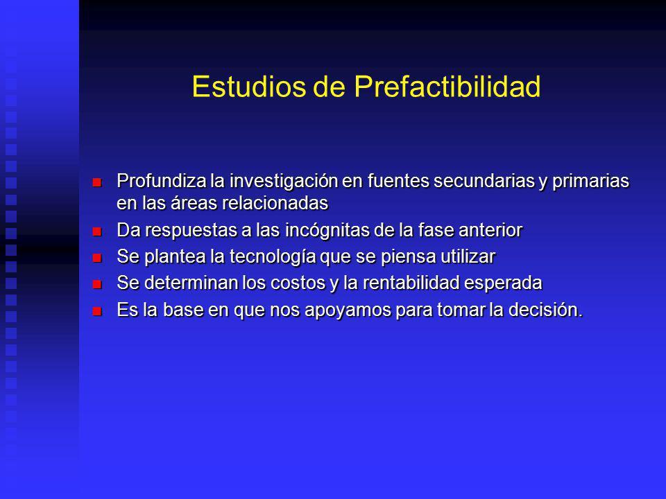 Estudios de Prefactibilidad