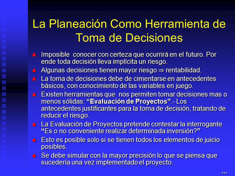 La Planeación Como Herramienta de Toma de Decisiones