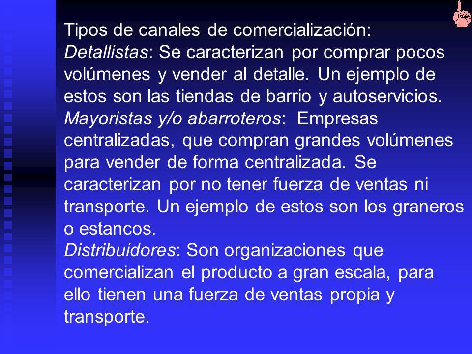 Tipos de canales de comercialización:
