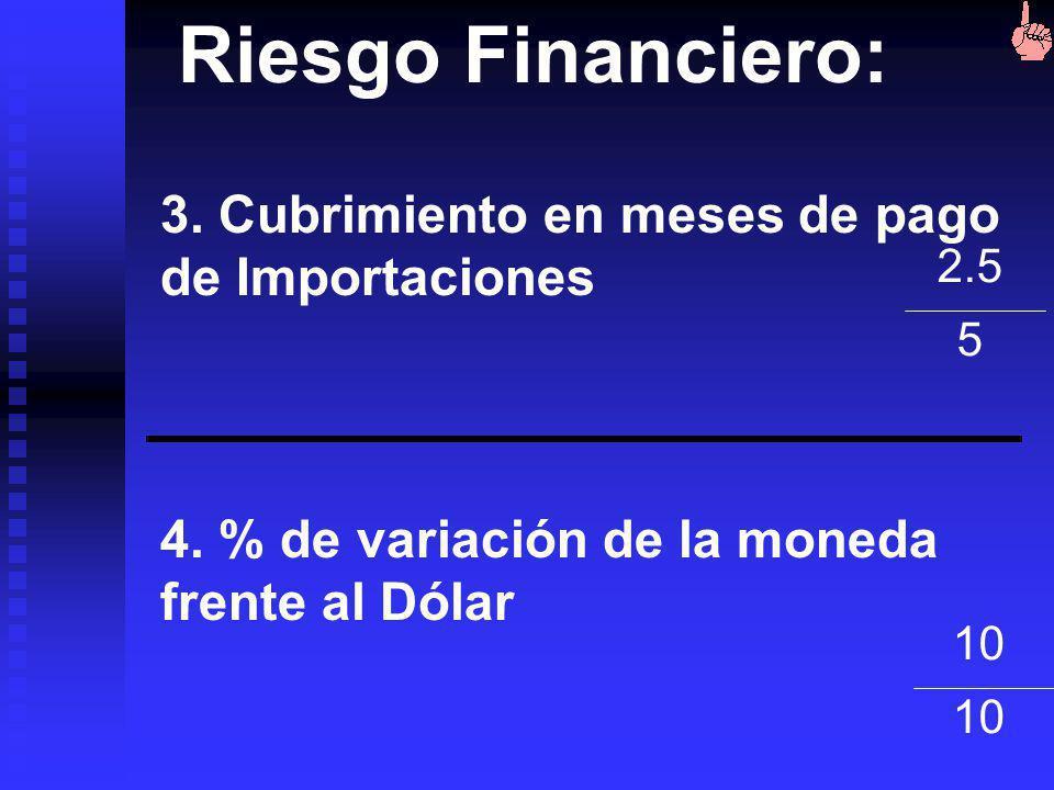 Riesgo Financiero: 3. Cubrimiento en meses de pago de Importaciones