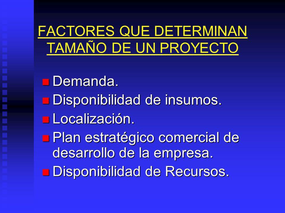 FACTORES QUE DETERMINAN TAMAÑO DE UN PROYECTO