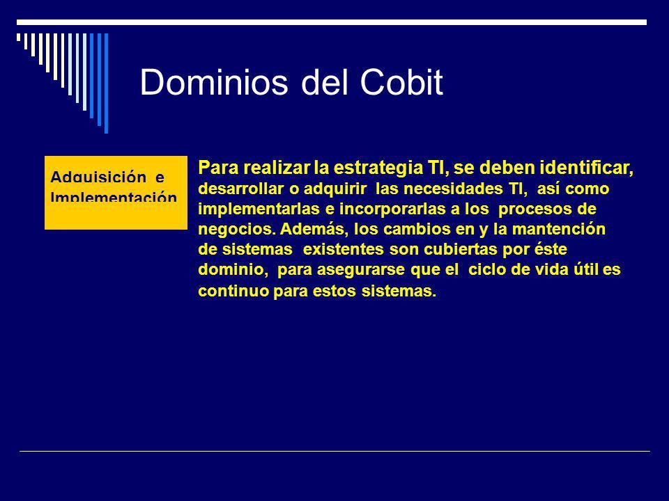 Dominios del Cobit Para realizar la estrategia TI, se deben identificar,