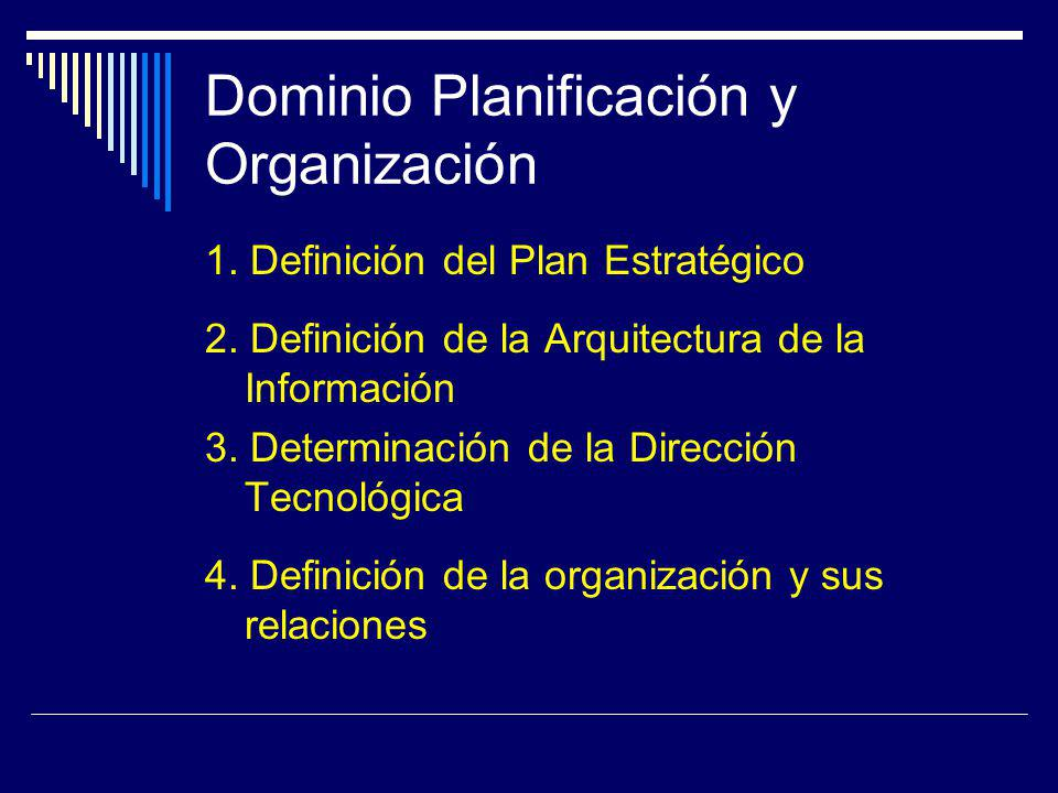 Dominio Planificación y Organización