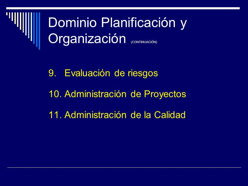 Dominio Planificación y Organización (CONTINUACIÓN)