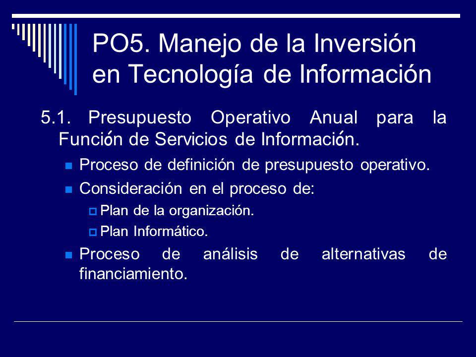 PO5. Manejo de la Inversión en Tecnología de Información