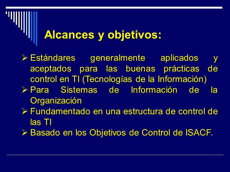 Alcances y objetivos: Estándares generalmente aplicados y aceptados para las buenas prácticas de control en TI (Tecnologías de la Información)