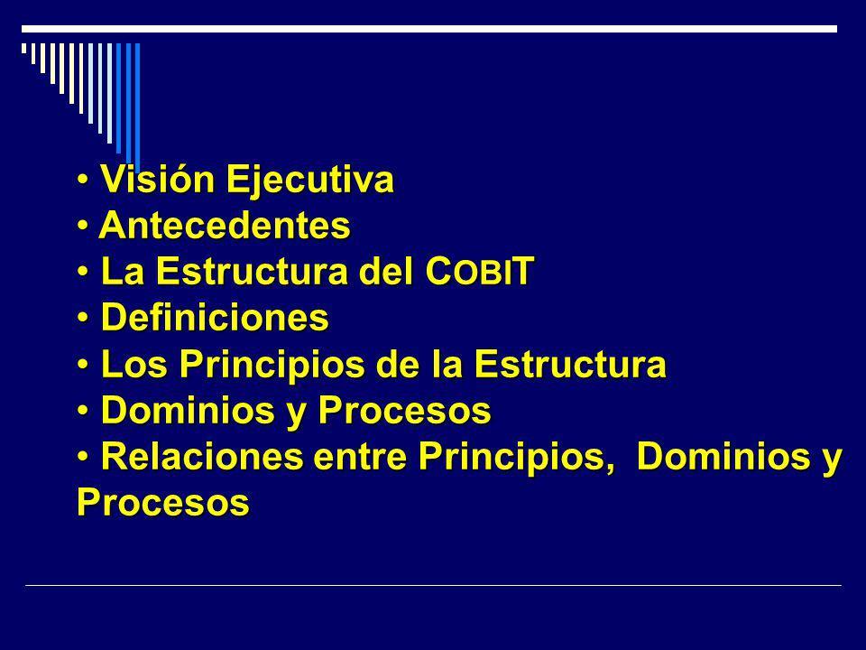 La Estructura del COBIT Definiciones Los Principios de la Estructura