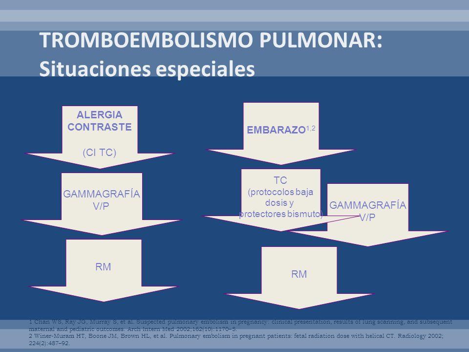 TROMBOEMBOLISMO PULMONAR: Situaciones especiales