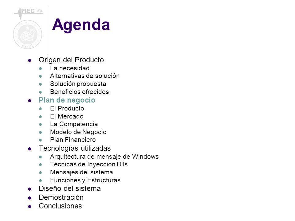 Agenda Origen del Producto Plan de negocio Tecnologías utilizadas