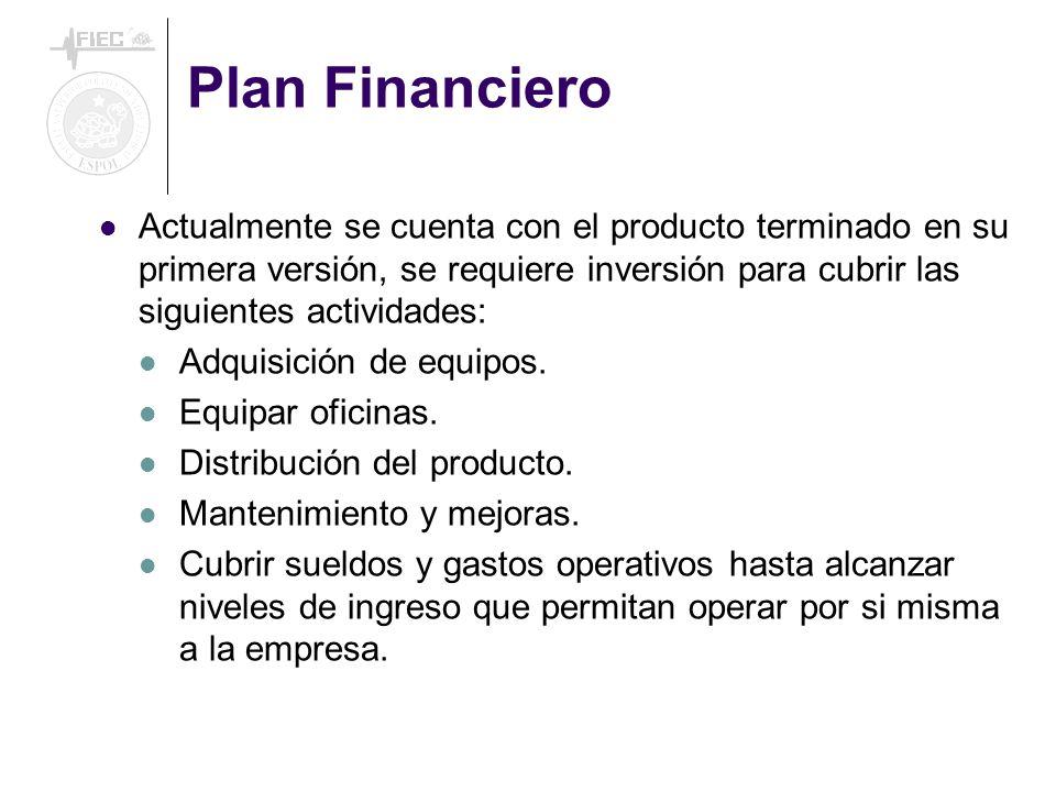 Plan Financiero Actualmente se cuenta con el producto terminado en su primera versión, se requiere inversión para cubrir las siguientes actividades:
