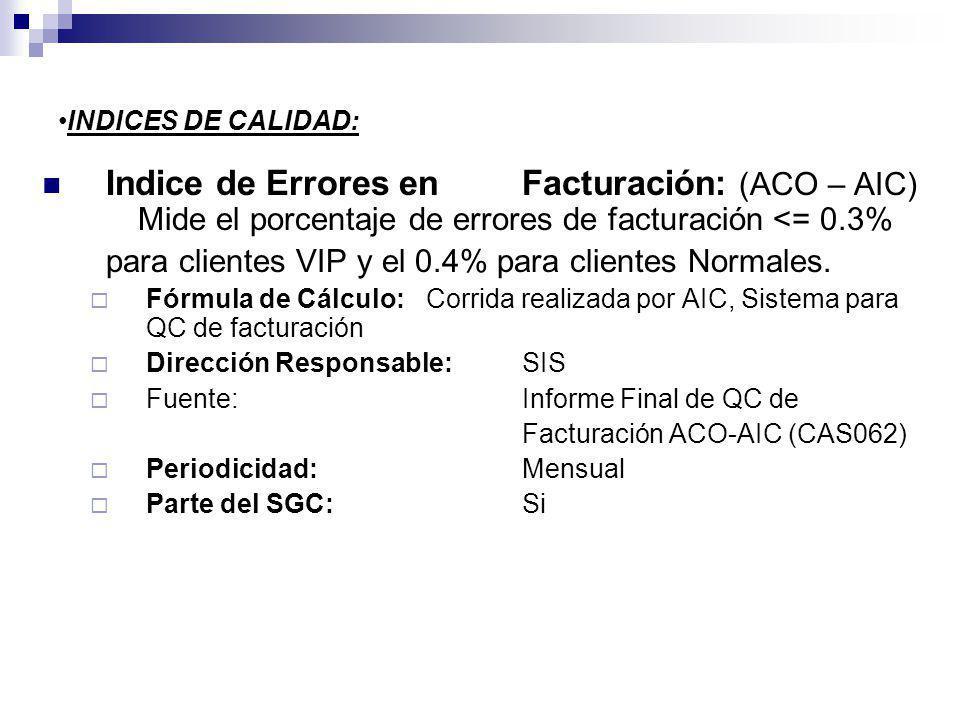 INDICES DE CALIDAD: Indice de Errores en Facturación: (ACO – AIC) Mide el porcentaje de errores de facturación <= 0.3%