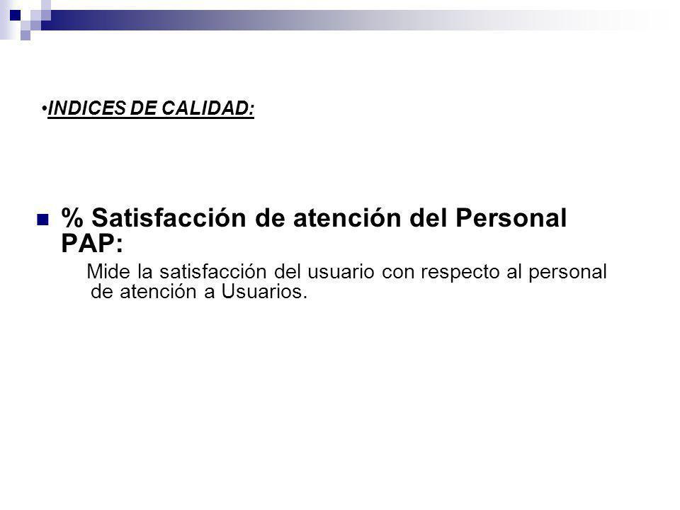 % Satisfacción de atención del Personal PAP: