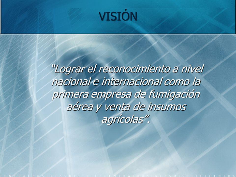 VISIÓN Lograr el reconocimiento a nivel nacional e internacional como la primera empresa de fumigación aérea y venta de insumos agrícolas .