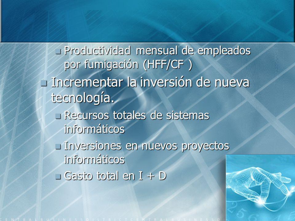 Incrementar la inversión de nueva tecnología.