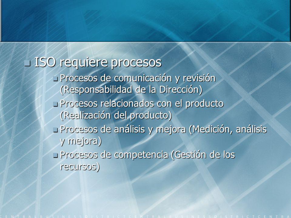 ISO requiere procesos Procesos de comunicación y revisión (Responsabilidad de la Dirección)