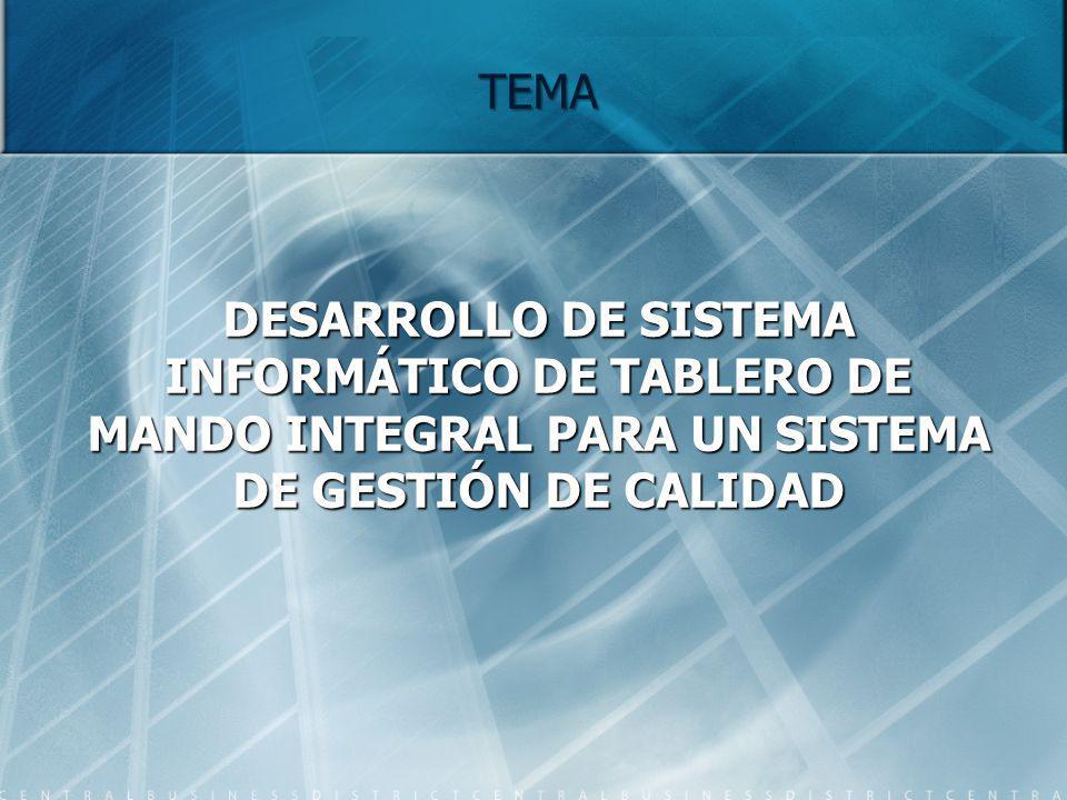 TEMA DESARROLLO DE SISTEMA INFORMÁTICO DE TABLERO DE MANDO INTEGRAL PARA UN SISTEMA DE GESTIÓN DE CALIDAD