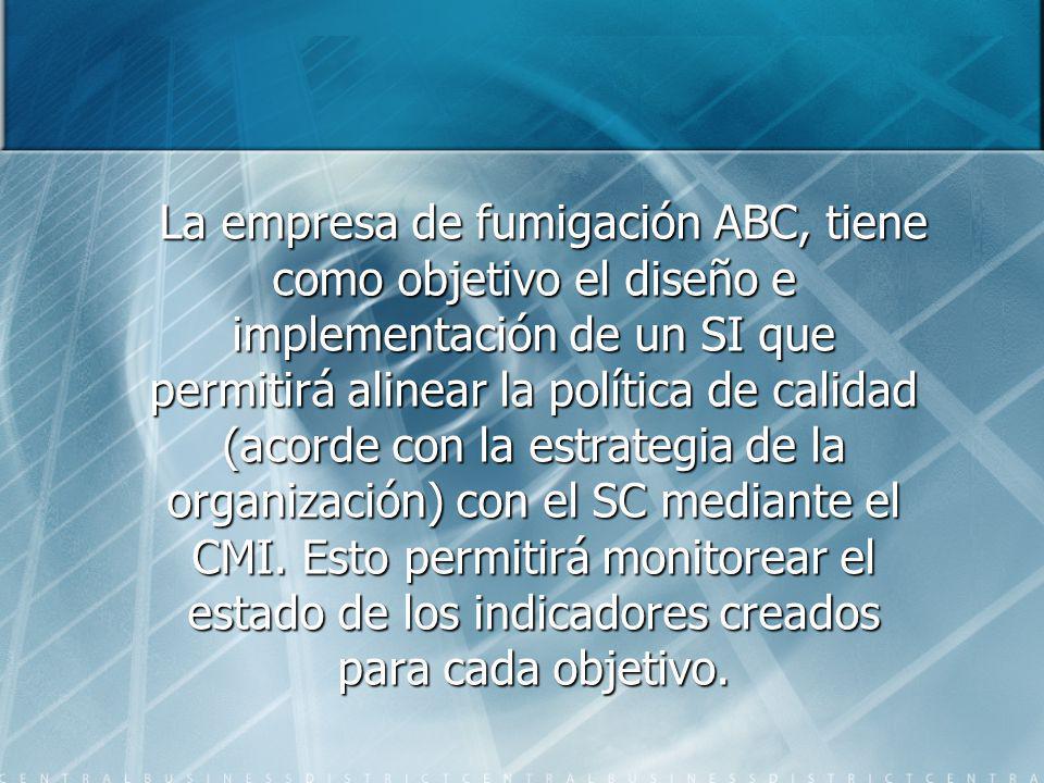 La empresa de fumigación ABC, tiene como objetivo el diseño e implementación de un SI que permitirá alinear la política de calidad (acorde con la estrategia de la organización) con el SC mediante el CMI.