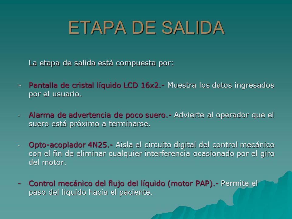 ETAPA DE SALIDA La etapa de salida está compuesta por: